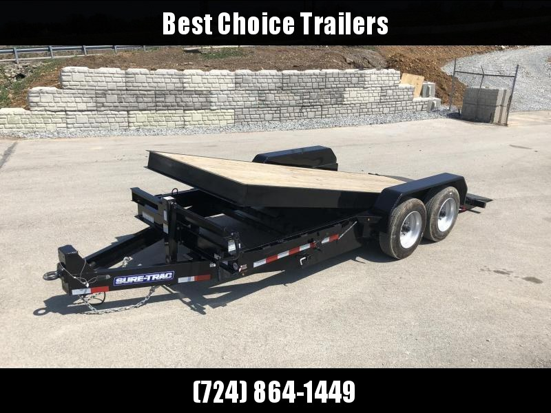 "2019 Sure Trac 7x18' Gravity Tilt Equipment Trailer 16000# GVW * 8000# AXLE UPGRADE * 17.5"" 16-PLY RUBBER * 3 3/8"" BRAKES * 8"" TONGUE/FRAME/BEDFRAME UPGRADE * HD COUPLER * 12K JACK * RUBRAIL/STAKE POCKETS/D-RINGS * SPARE MOUNT * CLEARANCE"