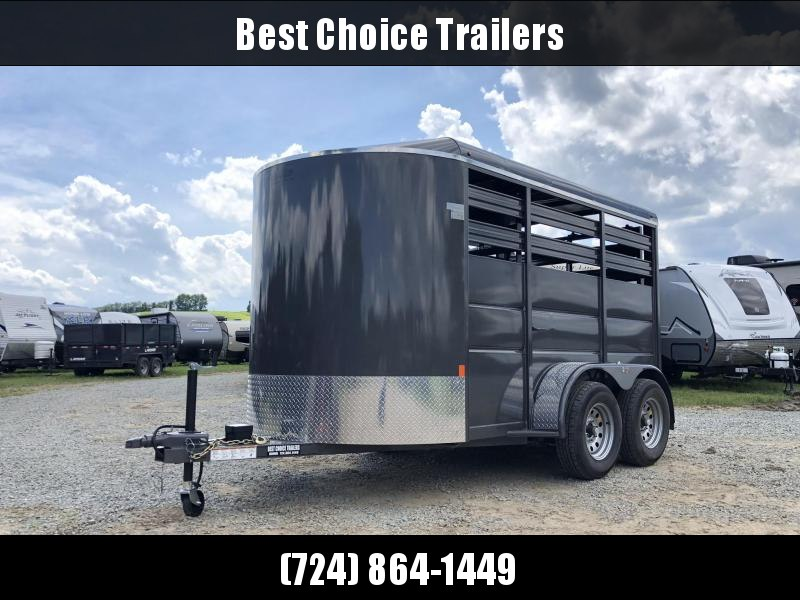 2020 Delta 12' Livestock Trailer 7000# GVW * GREY * DIVIDER GATE * ESCAPE DOOR * DEXTER