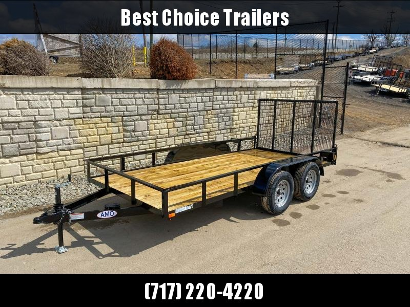"""2020 AMO 76x16' Angle Iron Utility Landscape Trailer 7000# GVW * 4"""" CHANNEL TONGUE * RADIAL TIRES * TUBE GATE C/M * BRAKES ON BOTH AXLES * LED LIGHTS"""
