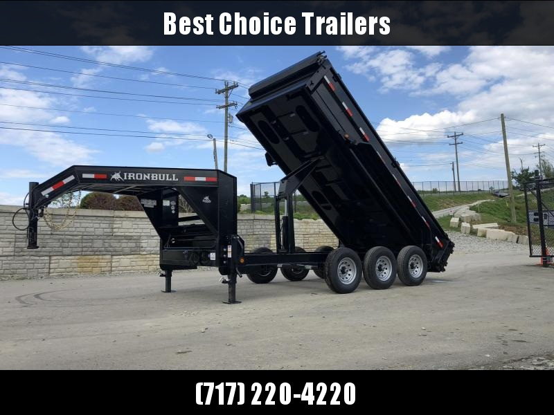 "2019 Ironbull 7x16' Gooseneck Dump Trailer 21000# GVW * TARP KIT * SCISSOR HOIST * STACKED I-BEAM FRAME * DUAL 12K JACKS * FULL WIDTH TOOLBOX * 6"" TUBE BEDFRAME * 10GA WALLS W/ KEYWAY * COMBO GATE * UNDERBODY BED RUNNERS * CLEARANCE"