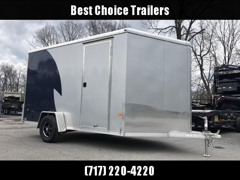 "2019 NEO 7x12' NAMR Aluminum Enclosed Motorcycle Trailer 2990# GVW * INDIGO/SILVER 2-TONE * VINYL WALLS * ALUMINUM WHEELS * +12"" HEIGHT * REAR STABILIZER JACKS * ROUND TOP * V-NOSE * ALUMINUM L-TRACK * RV DOOR * SCREWLESS * 1 PC ROOF * CLEARANCE"