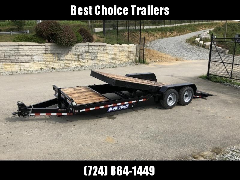 "2020 Sure Trac Gravity Tilt Equipment Trailer 7'X18+4' 16000# * 8"" TONGUE/FRAME * HD NOSEPLATE COUPLER * 12K JACK * OAK DECK"