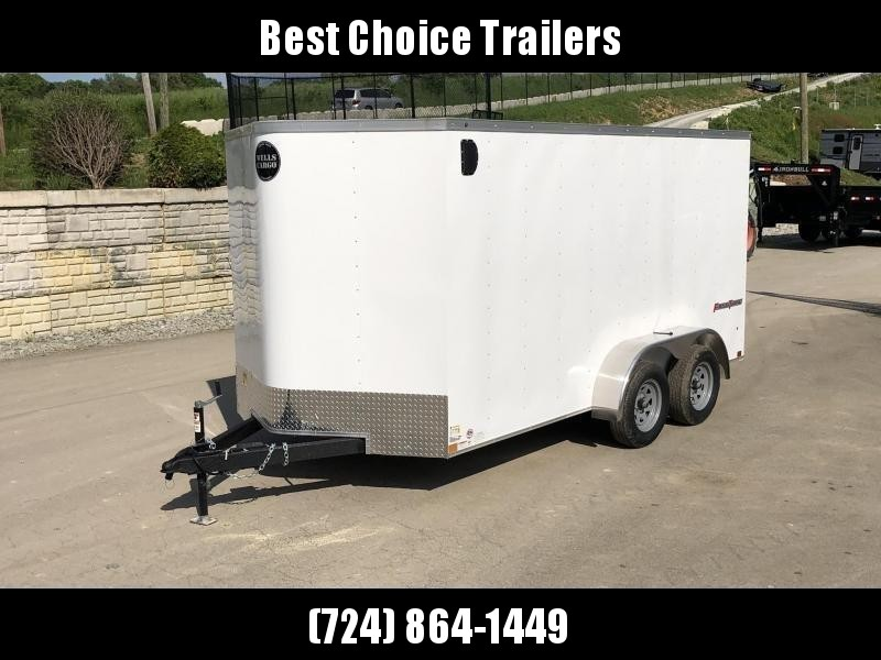 """2020 Wells Cargo 7x14' Fastrac DELUXE Enclosed Cargo Trailer 7000# GVW * WHITE EXTERIOR * BARN DOORS * V-NOSE * .030 EXTERIOR * 6'6"""" HEIGHT * TUBE STUDS * 3/8"""" WALLS * 1 PC ROOF * 16"""" O.C. WALLS * BULLET LED'S"""
