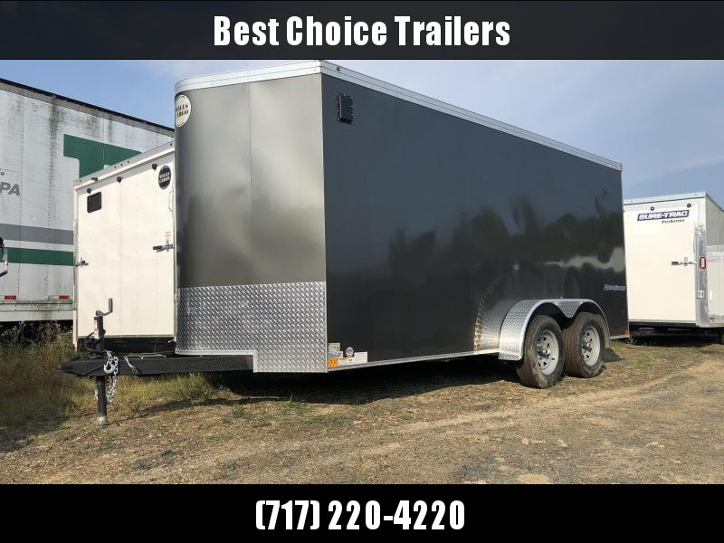 """2019 Wells Cargo 7x16' Road Force Enclosed Cargo Trailer 7000# GVW * CHARCOAL EXTERIOR * RAMP DOOR * V-NOSE * SCREWLESS .030 EXTERIOR * 6'6"""" HEIGHT * TUBE STUDS * 1 PC ROOF * 16"""" O.C. WALLS/FLOOR * RV DOOR * ARMOR GUARD * BULLET LED'S * CLEARANCE"""