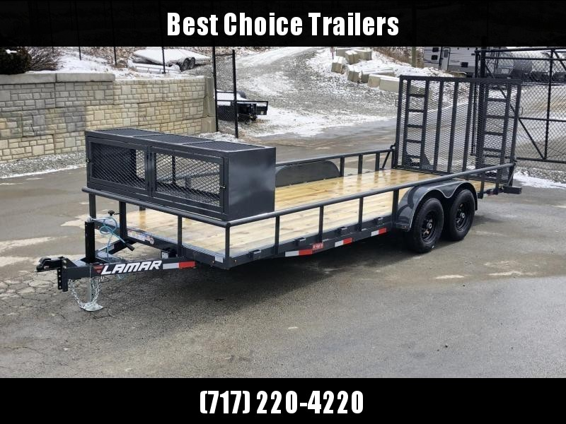 2019 Lamar 7x20' Pipe Top Channel Frame Utility Landscape Trailer 9990# GVW * UC832025-LS * TOOLCAGE * ADJUSTABLE COUPLER * DROP LEG JACK * PIPE TOP * UTV HAULER * COMMERCIAL LANDSCAPER * 5' GATE UPGRADE