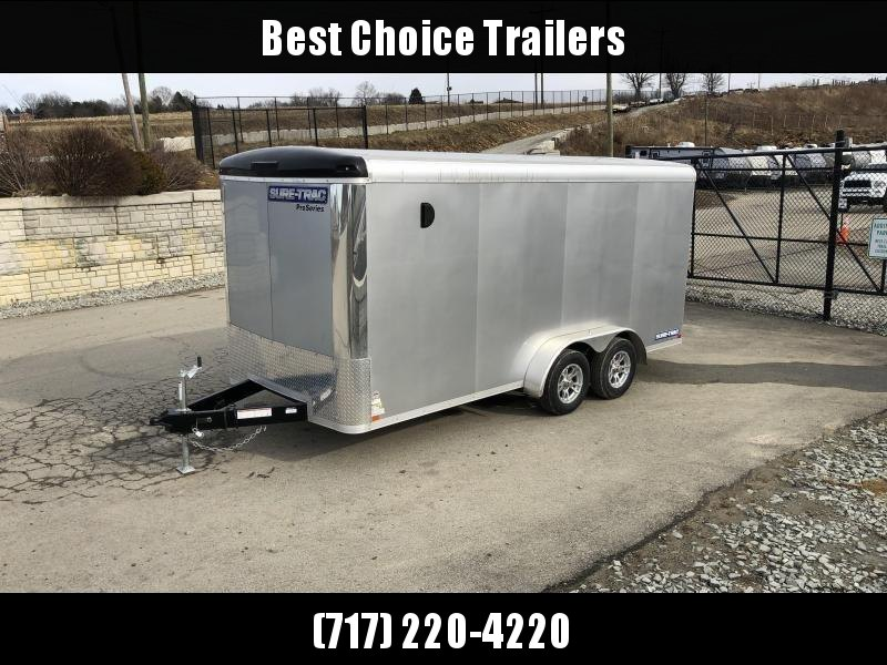"2020 Sure-Trac 7x16' Pro Series Enclosed Cargo Trailer 7000# GVW * SILVER EXTERIOR * .030 SCREWLESS EXTERIOR * ROUND TOP * ALUMINUM WHEELS * 1 PC ROOF * 6'6"" HEIGHT * 6"" FRAME * 16"" O.C. C/M * PLYWOOD * TUBE STUDS"