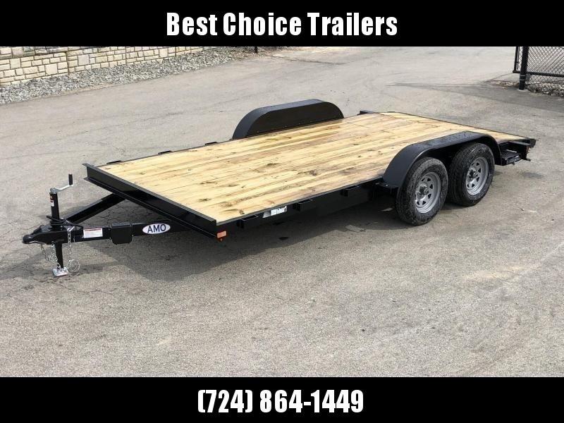 2019 AMO 7x18' Wood Deck Car Trailer 7000# GVW * LED TAIL LIGHTS * CLEARANCE
