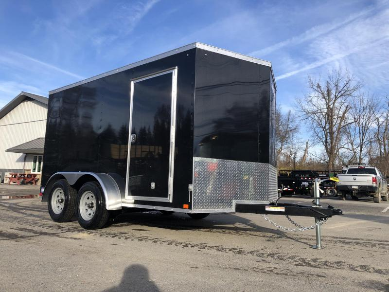 2020 Sure-Trac 7x12' Enclosed Cargo Trailer 7000# GVW * BLACK * SEMI-SCREWLESS * RV DOOR * TUBE STUDS * UNDERCOATED * V-NOSE