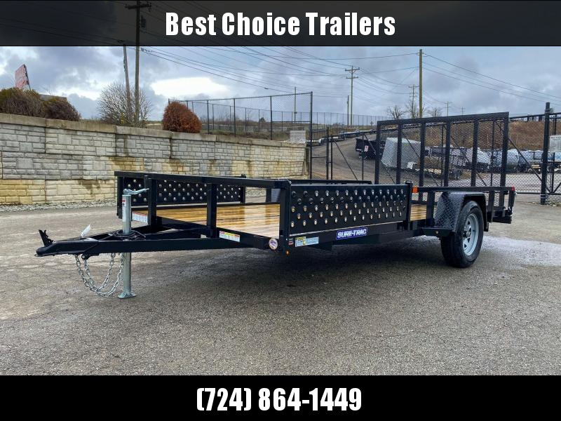 "2020 Sure-Trac 7x14' ATV Utility Landscape Trailer 2990# GVW * 2"" TUBE TOP RAIL * ATV RAMPS * FULL WRAP TONGUE * 2X2"" TUBE GATE C/M + SPRING ASSIST + FOLD FLAT * SPARE MOUNT * PROTECTED WIRING * SET BACK JACK * TRIPLE TUBE TONGUE * STAKE POCKETS * BULLET"