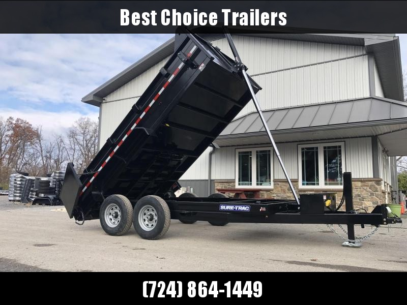 2020 Sure-Trac 7x14' Dump Trailer 14000# GVW * 7 GA FLOOR * HYDRAULIC JACK * TELESCOPIC HOIST * FRONT/REAR BULKHEAD * INTEGRATED KEYWAY * 2' SIDES * UNDERBODY TOOL TRAY * ADJUSTABLE COUPLER * 110V CHARGER * UNDERMOUNT RAMPS * COMBO GATE