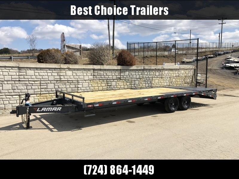 "2020 Lamar 102x20' Beavertail Deckover Trailer 14000# GVW * FULL WIDTH (FLIPOVER OR STAND UP) RAMPS + SPRING ASSIST  * CHARCOAL * TOOL TRAY * HD COUPLER * I-BEAM FRAME * 16"" O.C. C/M * RUBRAIL/STAKE POCKETS/PIPE SPOOLS * CHANNEL S"