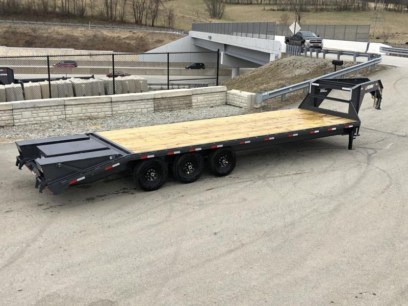 "2020 Lamar 102x23+5' Gooseneck Beavertail Deckover Trailer 21000# * 2 FLIPOVER RAMPS * SIDE TOOLBOX * CHARCOAL * 12"" BEAM * FRONT TOOLBOX / DUAL JACKS"