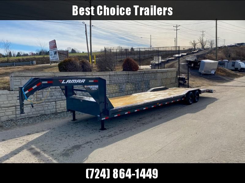 "2020 Lamar 102x34' Gooseneck Car Hauler Trailer 14000# GVW * 102"" DECK * DRIVE OVER FENDERS * SLIDE IN RAMPS * WINCH PLATE * RUBRAIL"