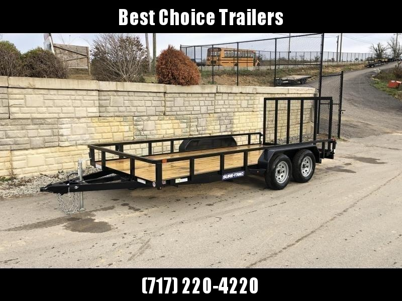"""2020 Sure-Trac 7x16' Tube Top Utility Landscape Trailer 7000# GVW * 2"""" TUBE TOP RAIL * 2X2"""" TUBE GATE C/M + SPRING ASSIST + FOLD FLAT * TOOLESS GATE REMOVAL * SPARE MOUNT * PROTECTED WIRING * SET BACK JACK * TRIPLE TUBE TONGUE * STAKE POCKETS * BULLET LED"""