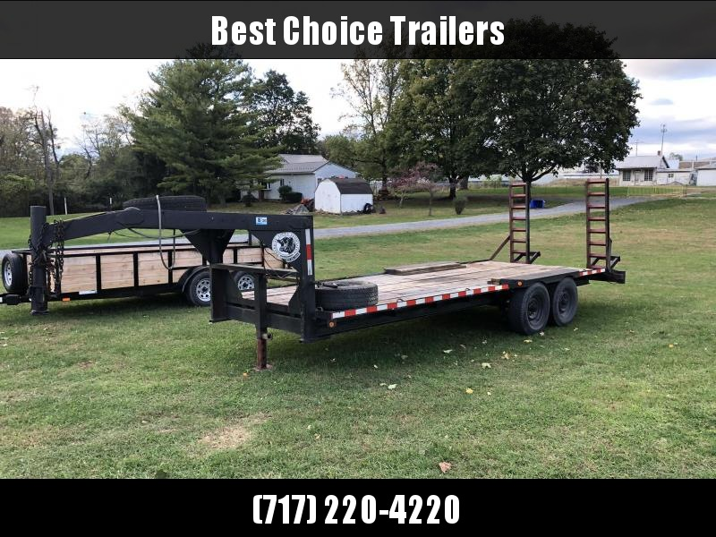 USED Jayco 21' Gooseneck Deckover Beavertail Flatbed * STAND UP RAMPS * 2 SPARES * OAK DECK * NEW PAINT