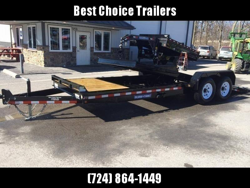 2020 Sure-Trac 7x18+4' Tilt Bed Equipment Trailer 14000# GVW * OAK DECKING