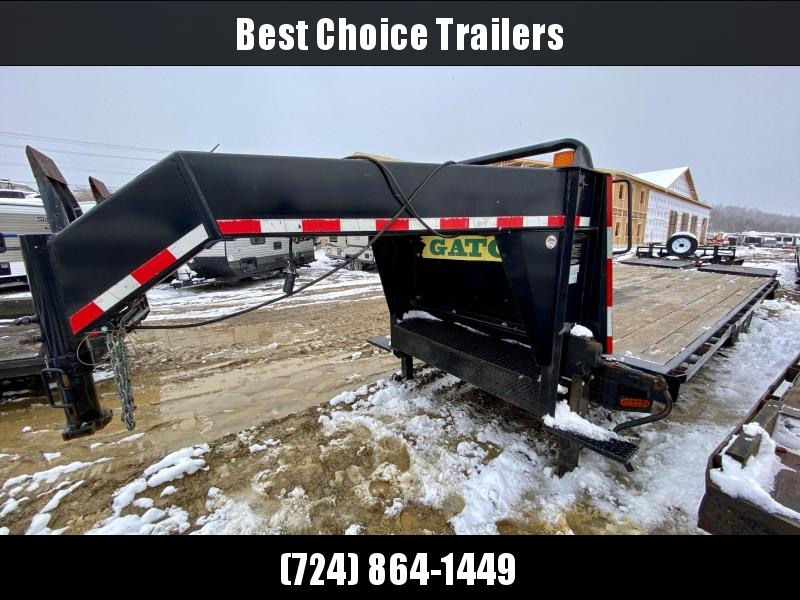 "USED 2013 Gatormade 102"" x 20+5' 16000# Gooseneck Deckover Trailer * FULL WIDTH RAMPS * 25' LENGTH * 7000# AXLES * DUAL JACKS/FRONT TOOLBOX *"