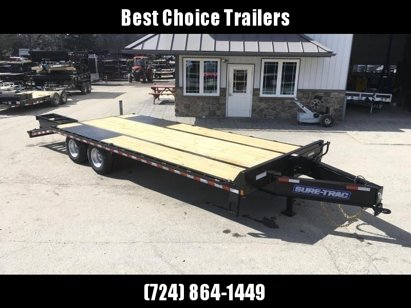 """2019 Sure-Trac 102x25' HD Beavertail Deckover Trailer 22500# GVW * DEXTER AXLES * FLIPOVER RAMPS + SPRING ASSIST * 12"""" I-BEAM * PIERCED FRAME * RUBRAIL/STAKE POCKETS/PIPE SPOOLS/10 D-RINGS * CROSS TRAC BRACING * HD BEAVERTAIL * CLEARANCE"""