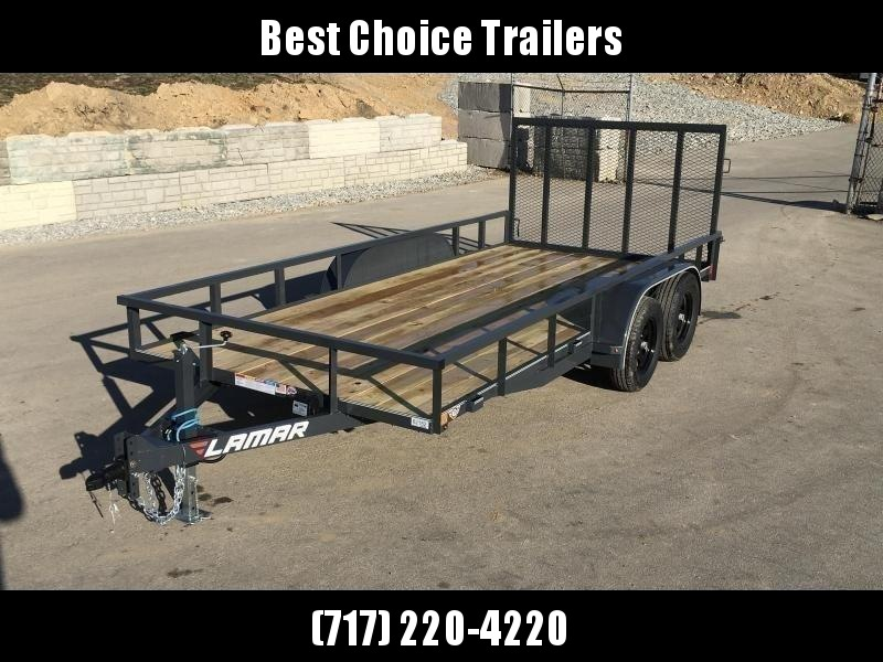 "2020 Lamar 7x16' Deluxe Utility Landscape Trailer 7000# GVW * ADJUSTABLE COUPLER * PIPE TOP RAIL * 7K DROP LEG JACK * CHARCOAL * HD GATE/2X2"" TUBE C/M + SPRING ASSIST * COLD WEATHER HARNESS * 4"" CHANNEL TONGUE * STAKE POCKETS * TEARDROP FENDERS * BULLET L"