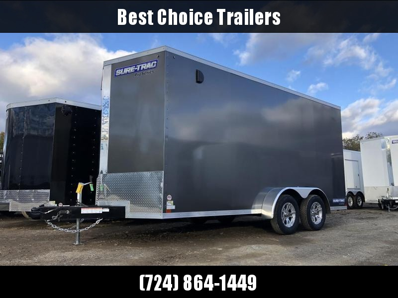 "2020 Sure-Trac 7x14' Enclosed Cargo Trailer 7000# GVW * CHARCOAL * SCREWLESS * ALUM WHEELS * 1PC ROOF * 6'6"" H * 6"" FRAME"