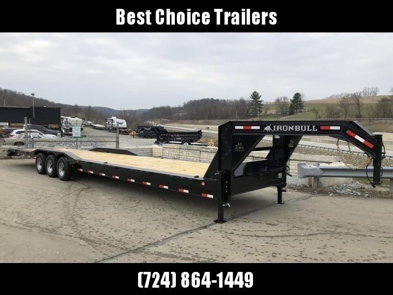 "2019 Ironbull 102x40' Gooseneck Car Hauler Trailer 21000# GVW * DEXTER AXLES * 4' DOVETAIL * OVERWIDTH RAMPS * 102"" DECK * DRIVE OVER FENDERS * DUAL JACKS * FULL TOOLBOX * RUBRAIL/STAKE POCKETS/PIPE SPOOLS/D-RINGS * UNDER FRAME BRIDGE * CLEARANCE"