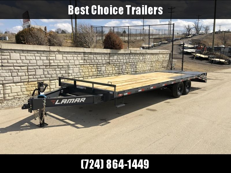 "2020 Lamar 102x24' Beavertail Deckover Trailer 14000# GVW * DUAL JACKS * 4 D-RINGS * FULL WIDTH (FLIPOVER OR STAND UP) RAMPS + SPRING ASSIST  * CHARCOAL * TOOL TRAY * HD COUPLER * I-BEAM FRAME * 16"" O.C. C/M * RUBRAIL/STAKE POCKETS/PIPE SPOOLS * CHANNEL S"