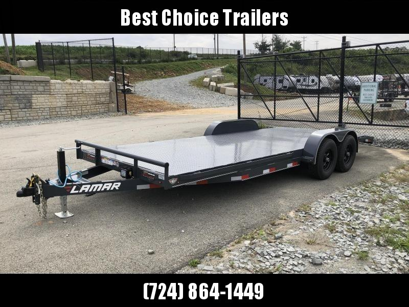 2020 Lamar 7x20' Car Hauler Trailer 9990# GVW * 11GA STEEL DECK * CHARCOAL POWDERCOATING * 7K DROP LEG JACK * CHANNEL C/M * ADJUSTABLE COUPLER * RUBRAIL * CLEARANCE