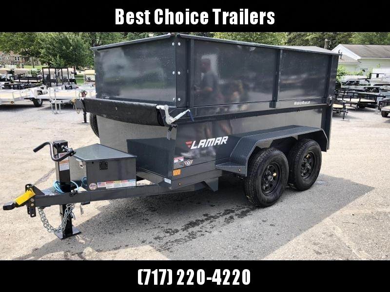 2020 Lamar 5x10' DS60 High Side Dump Trailer 7000# GVW DELUXE * 2' SOLID EXTENSIONS * 12K JACK * RAMPS * TARP * SPARE TIRE * SPARE MOUNT