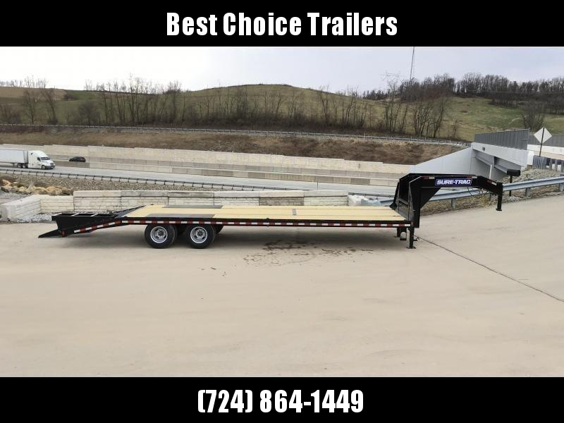 """USED 2018 Sure-Trac 102x25' Gooseneck Beavertail Deckover Trailer 22500# GVW * DEXTER AXLES * FLIPOVER RAMPS + SPRING ASSIST * 12"""" I-BEAM * PIERCED FRAME * RUBRAIL/STAKE POCKETS/PIPE SPOOLS/10 D-RINGS * CROSS TRAC BRACING * HD BEAVERTAIL * CLEARANCE"""