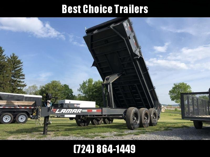 "2020 Lamar 7x16' Dump Trailer 21000# GVW * OVERSIZE 6X21.5 11-TON SCISSOR HOIST * DUAL 12K JACKS * OIL BATH HUBS * 7GA FLOOR * JACKSTANDS * TARP KIT * CHARCOAL * RIGID RAILS * NESTLED I-BEAM FRAME 28"" H * 12"" O.C. C/M * 3-WAY GATE * HD COUPLER"