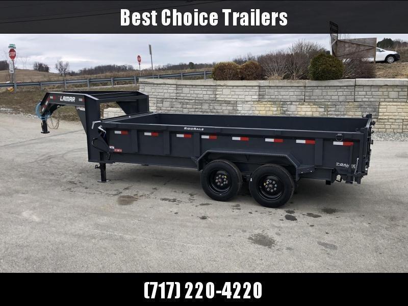 2020 Lamar 7x16' Gooseneck Dump Trailer 16000# GVW * 8000# AXLE UPGRADE * 17.5 RUBBER * OVERSIZE 6x21.5 SCISSOR