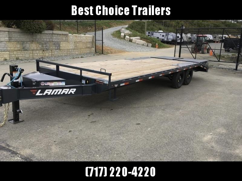 "2019 Lamar F8 102x24' Beavertail Deckover Trailer 14000# GVW * FULL WIDTH RAMPS * CHARCOAL * 16"" O.C. FLOOR * CHAIN TRAY * CLEARANCE"