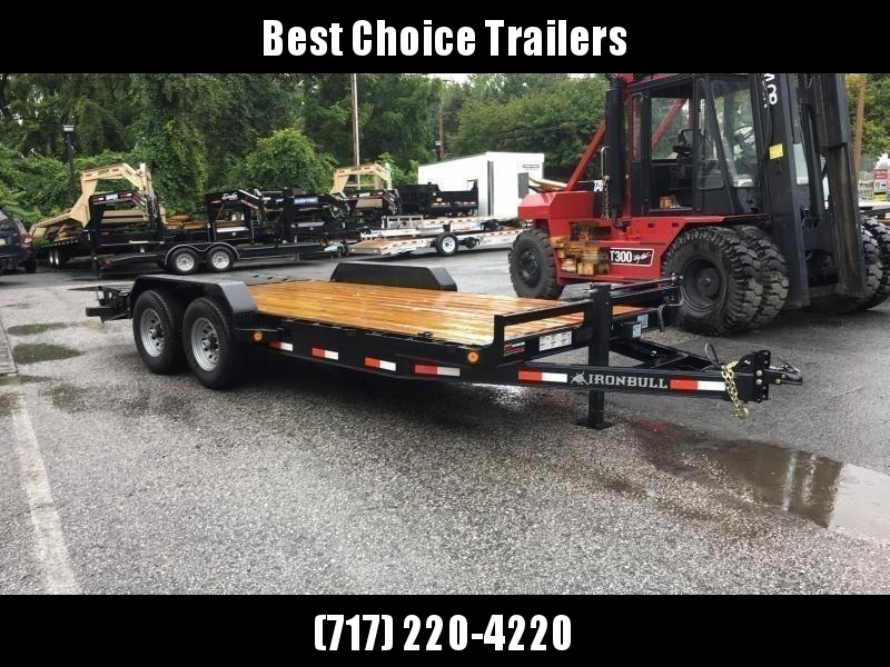 """2020 Ironbull 7x22' Equipment Trailer 14000# GVW * FULL WIDTH RAMPS * REMOVABLE FENDERS * 16"""" O.C. STRUCTURAL CHANNEL C/M * RUBRAIL/STAKE POCKETS/PIPE SPOOLS/D-RINGS * ADJUSTABLE CAST COUPLER * 12K JACK * DEXTER'S * 2-3-2 WARRANTY"""