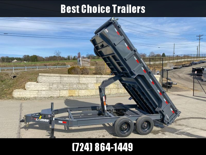 "USED 2019 Lamar 7x16' Dump Trailer 16000# GVW * DEXTER 8K AXLE UPGRADE * OVERSIZE 6X21.5 11-TON SCISSOR HOIST * DUAL 12K JACKS * 7GA FLOOR * 17.5"" 16-PLY TIRES * SPARE TIRE * JACKSTANDS * TARP KIT * CHARCOAL * RIGID RAILS * NESTLED I-BEAM FRAME 28"" H * 12"