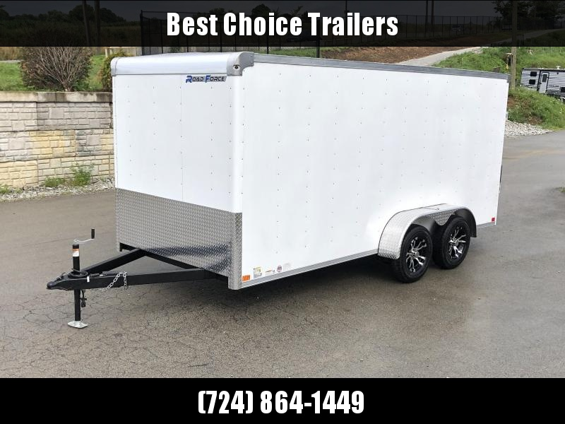 NEW Wells Cargo 7x16' Road Force Enclosed Cargo Trailer 7000# GVW * WHITE * RAMP DOOR * .030 ALUM EXTERIOR * 1 PC ALUM ROOF * ARMOR GUARD * BULLNOSE FRONT * ALUMINUM WHEELS * CLEARANCE