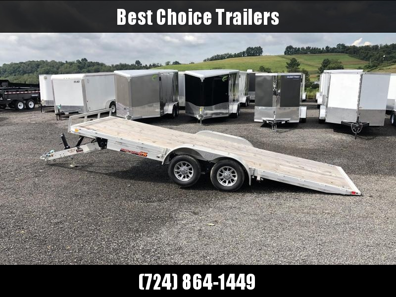 USED 2018 H&H 7x18 Aluminum Power Tilt Car Hauler Trailer 7000# * POWER TILT * ALUMINUM WHEELS * SWIVEL D-RINGS * REMOVABLE FENDERS