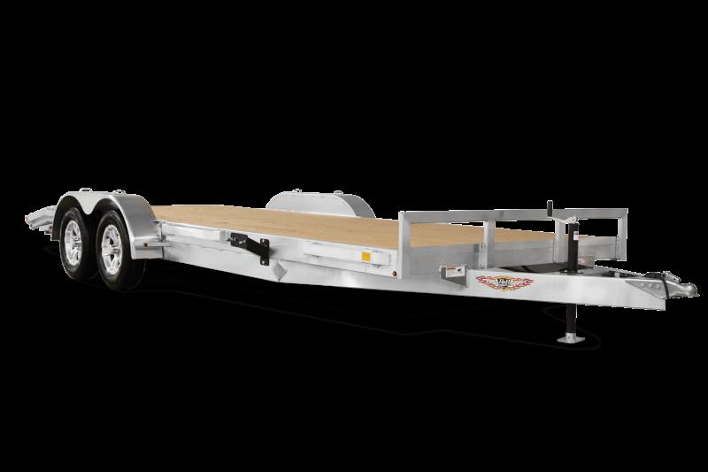 "2020 H and H 7x18' Aluminum Car Hauler Trailer 7000# GVW * HEAVY DUTY 6"" TONGUE/FRAME * EXTRUDED BEAVERTAIL * SET BACK JACK * ALUMINUM WHEELS * REMOVABLE FENDERS * CHANNEL C/M * RUBRAIL"