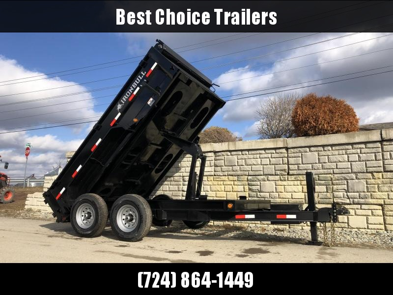 "2020 Ironbull 7x12' Dump Trailer 14000# GVW * HYDRAULIC JACK * TARP KIT * SCISSOR HOIST * STACKED I-BEAM FRAME * 6"" TUBE BEDFRAME * 2PC 10GA BED & WALLS W/ KEYWAY * COMBO GATE * UNDERBODY BED RUNNERS * DEXTER AXLES * 2-3-2 WARRANTY"