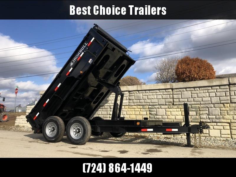 "2020 Ironbull 7x12' Dump Trailer 14000# GVW * HYDRAULIC JACK * TARP KIT * SCISSOR HOIST * STACKED I-BEAM FRAME * 6"" TUBE BEDFRAME * 2PC 10GA BED & WALLS W/ KEYWAY * COMBO GATE * UNDERBODY BED RUNNERS * DEXTER AXLES * 2-3-2 WARRANTY"