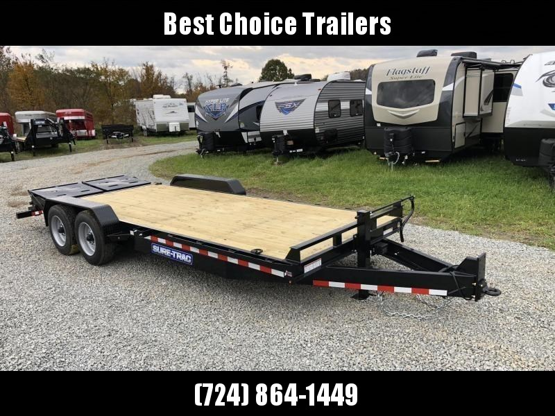 """2019 Sure-Trac 7x20' Equipment Trailer 16000# GVW * FULL WIDTH RAMPS W/ SPRING ASSIST + EXTENDED SELF CLEANING DOVETAIL * 8000# AXLE UPGRADE * 17.5"""" 16-PLY RUBBER * 3 3/8"""" BRAKES * 8"""" TONGUE * HD COUPLER * RUBRAIL/STAKE POCKETS/D-RINGS * CLEARANCE"""