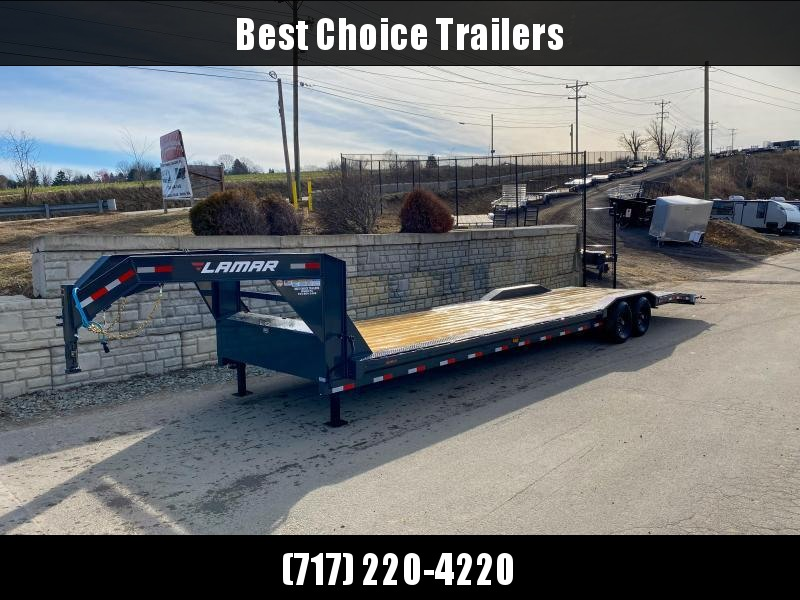 "2020 Lamar 102x34' Gooseneck Car Hauler Trailer 14000# GVW * 102"" DECK * DRIVE OVER FENDERS * OVERLENGTH 7' SLIDE IN RAMPS * 4' DOVETAIL * RUBRAIL * SWIVEL JACKS * UNDER FRAME BRIDGE * DUAL JACKS * FULL TOOLBOX * CHARCOAL W/ BLACK WHEELS"