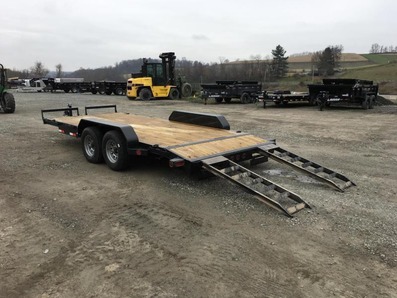 "2020 Ironbull 7x18' Wood Deck Car Hauler Trailer 9990# GVW * NO DOVETAIL * OVERWIDTH RAMPS * 16"" O.C. FLOOR * CHANNEL C/M * RUBRAIL/STAKE POCKETS/PIPE SPOOLS/D-RINGS"