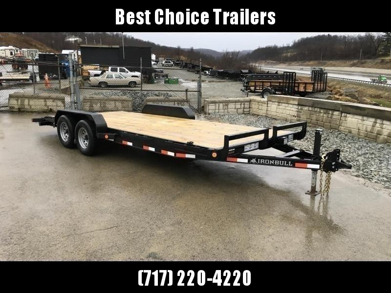 """2020 Ironbull 7x18' Wood Deck Car Hauler Trailer 9990# GVW * NO DOVETAIL * OVERWIDTH RAMPS * 16"""" O.C. FLOOR * CHANNEL C/M * RUBRAIL/STAKE POCKETS/PIPE SPOOLS/D-RINGS * CLEARANCE"""