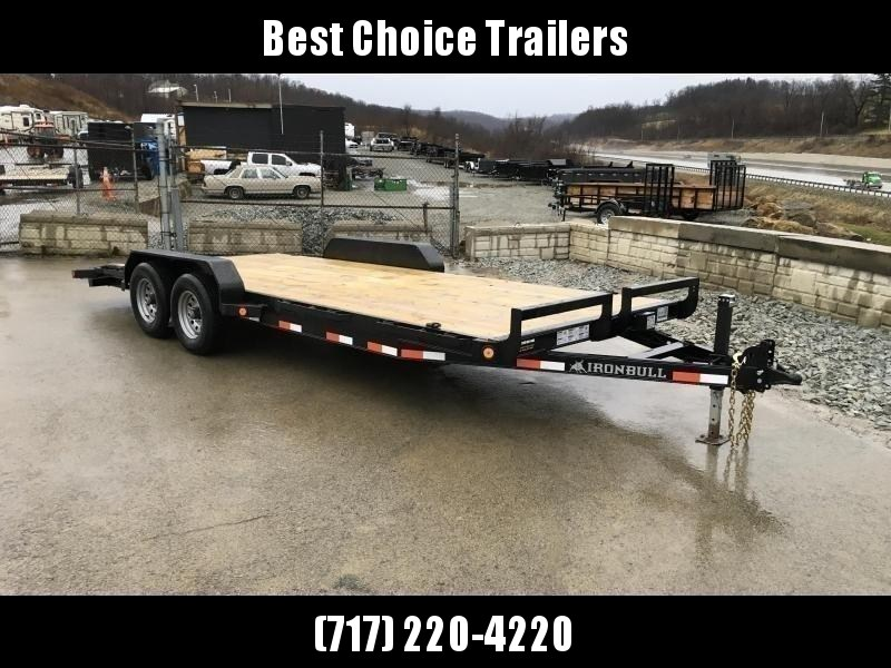 "2020 Ironbull 7x18' Wood Deck Car Hauler Trailer 9990# GVW * OVERWIDTH RAMPS * 16"" O.C. FLOOR * CHANNEL C/M * RUBRAIL/STAKE POCKETS/PIPE SPOOLS/D-RINGS"
