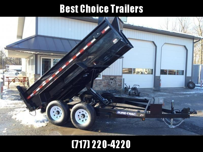 2020 Sure-Trac 7x12' Dump Trailer 12000# GVW * SCISSOR HOIST * FRONT/REAR BULKHEAD * INTEGRATED KEYWAY * 2' SIDES * UNDERBODY TOOL TRAY * ADJUSTABLE COUPLER * 110V CHARGER * UNDERMOUNT RAMPS * COMBO GATE * 7K DROP LEG JACK * SPARE MOUNT