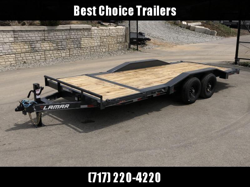 "2020 Lamar 102x20 Gravity Tilt Equipment Trailer 14000# GVW * 16+4' SPLIT DECK * 102"" DECK WITH DRIVE OVER FENDERS * GRAVITY TILT WITH STOP VALVE * TORSION AXLES * CHARCOAL POWDERCOAT * COLD WEATHER HARNESS * 12K JACK * RUBRAIL/STAKE POCKETS/PIPE SPOOLS"