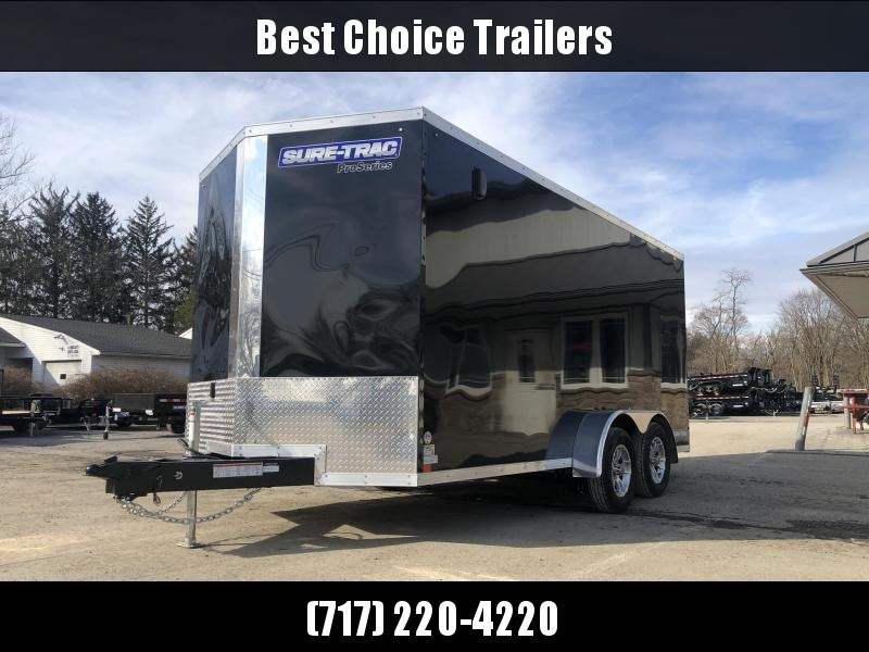 "2020 Sure-Trac 7x16' Pro Series Enclosed Cargo Trailer 7000# GVW * BLACK EXTERIOR * V-NOSE * RAMP * .030 SCREWLESS EXTERIOR * ALUMINUM WHEELS * 1 PC ROOF * 6'6"" HEIGHT * 6"" FRAME * 16"" O.C. C/M * PLYWOOD * TUBE STUDS"