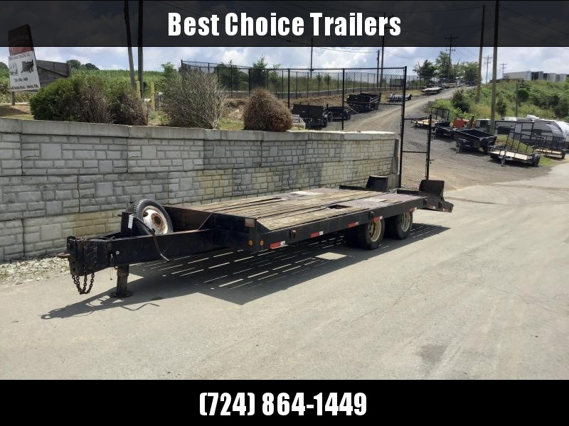 """USED Eager Beaver 102x17+5' 23500# GVW Deckover Flatbed Trailer * 12"""" I-BEAM TONGUE/FRAME * STAND UP RAMPS * ADJUSTABLE PINTLE COUPLER * SPARE WHEEL/TIRE * D-RINGS * CHAIN TRAY"""