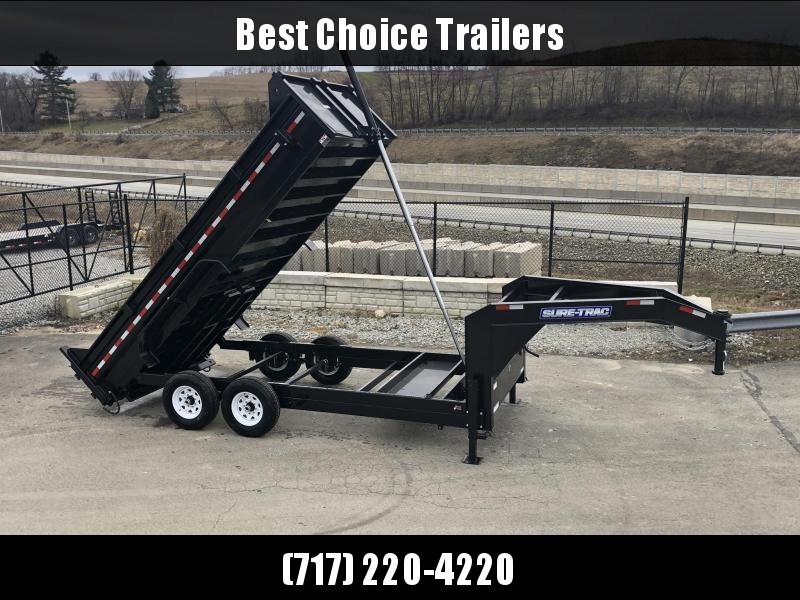 2019 Sure-Trac 7x16' 14000# Low Profile HD GOOSENECK Dump Trailer * TELESCOPIC HOIST * CLEARANCE