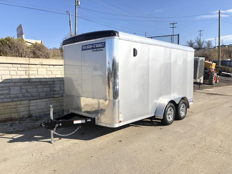 2019 Sure-Trac 7x14' Enclosed Cargo Trailer 7000# GVW * SCREWLESS EXTERIOR * ROUND TOP * ALUMINUM WHEELS * SILVER EXTERIOR